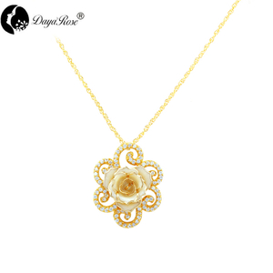 Full Diamond Lace White Rose Necklace (fresh Rose)