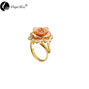 Petal Diamond Gold Rose Ring (natural Flowers)