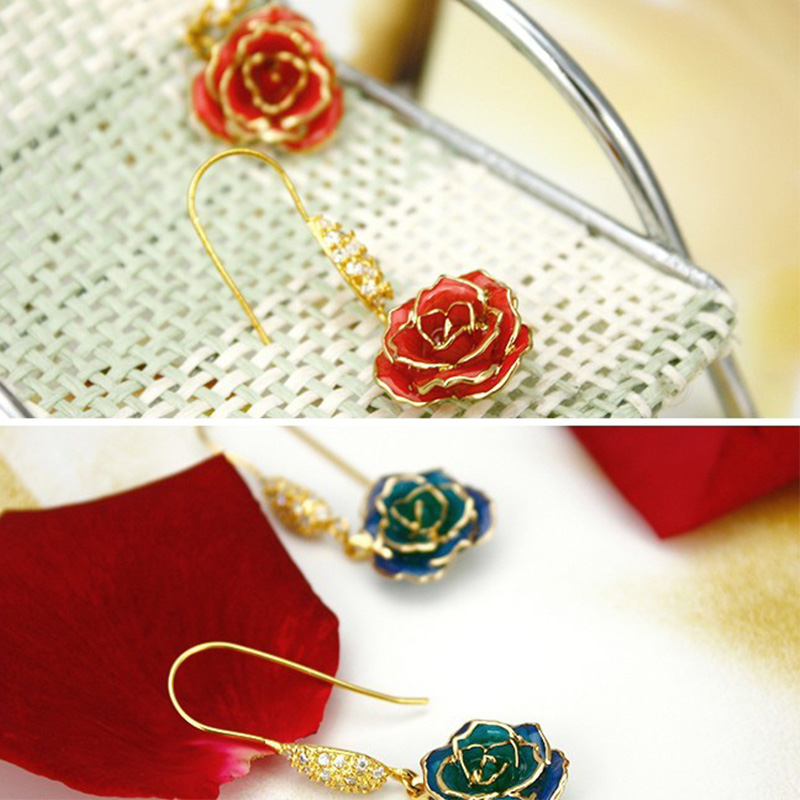 Mini Diamond Gold Rose Earrings (fresh Rose)