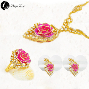 Daya Gold Rose Set Jewelry (natural Flowers)