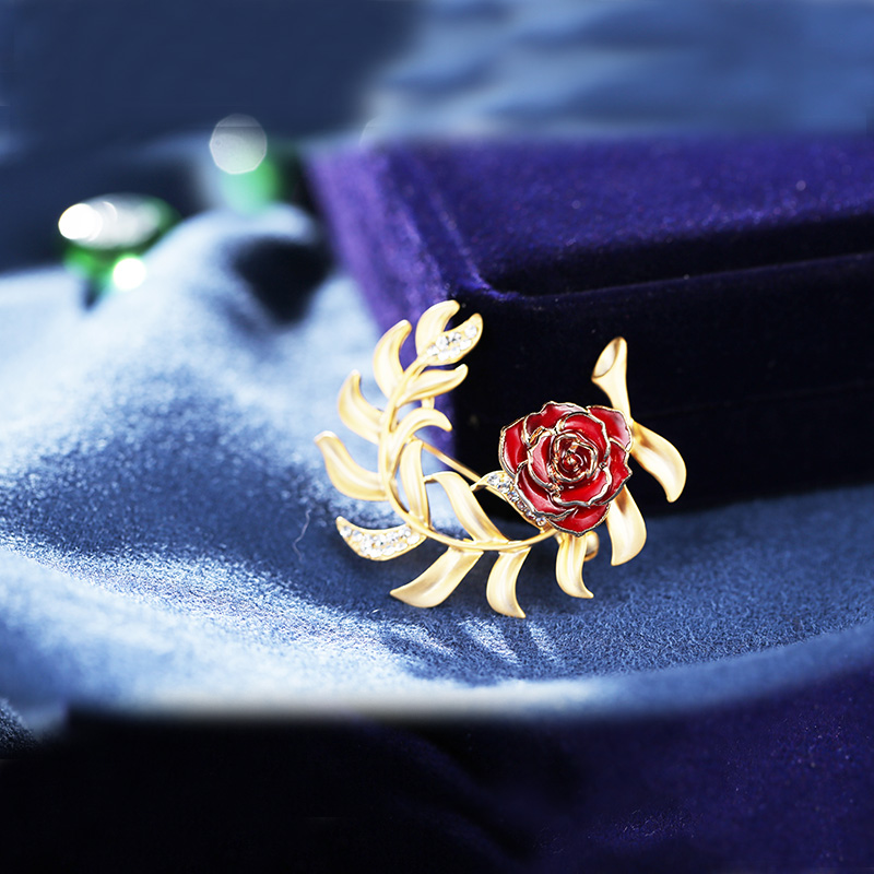 Love Grass Gold Rose Solid Brooch (natural Flowers)
