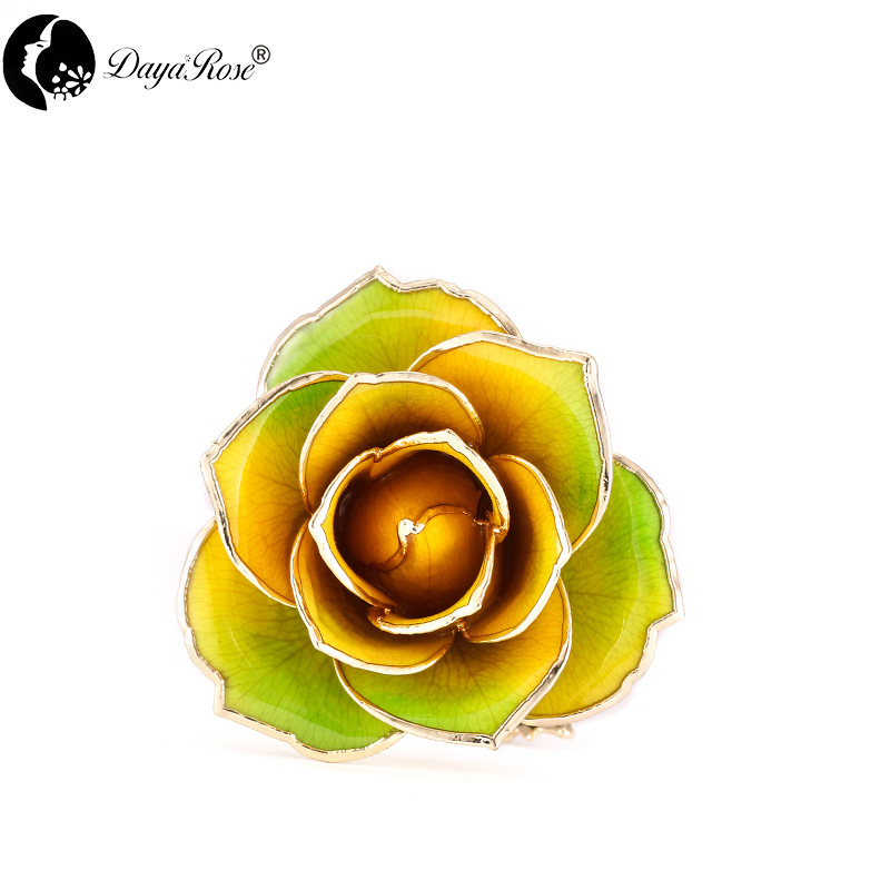 Wholesale Processing Customized Diana Yellow And Green Two-color Gold Rose