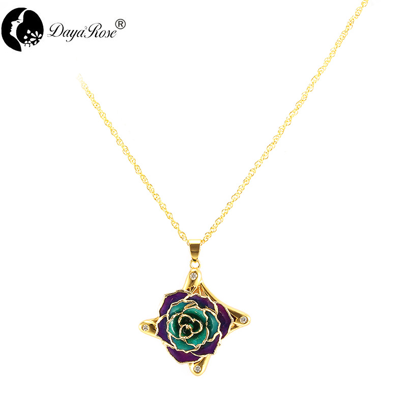 Four-diamond Two-tone Rose Necklace (fresh Rose)
