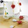 Small Diamond Gold Rose Earrings (fresh Rose)