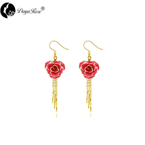 Gold Rose Ear Stud with Fringe (fresh Rose)