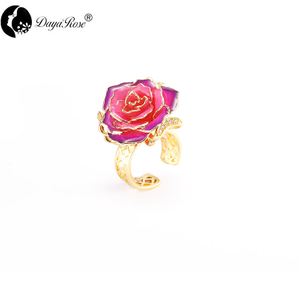 Lovers Gold Rose Purple Ring (natural Flowers)
