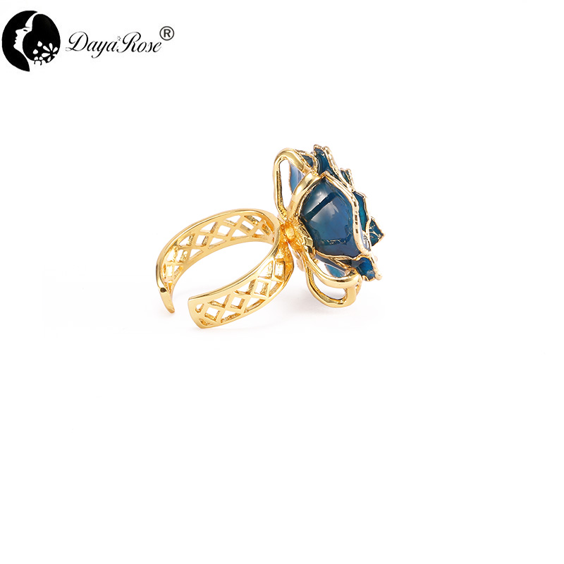 Lover Gold Rose Blue Ring (natural Flowers)