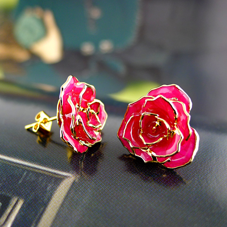 Bohemian Gold Rose Earrings (fresh Rose)