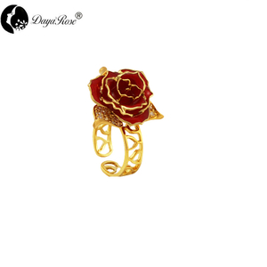 Five-leaf Gold Rose Ring (natural Flowers)