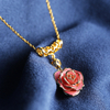 Exquisite Diamond Pink Gold Rose Necklace