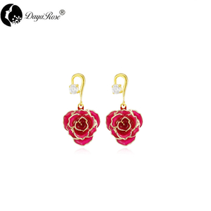 Single Diamond Gold Rose Earrings (fresh Rose)